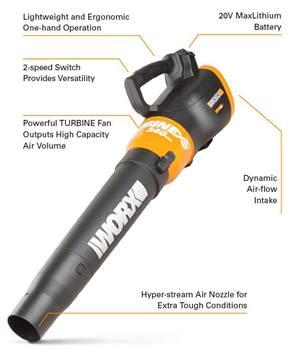 WORX WG591 Turbine 56V Cordless Leaf Blower