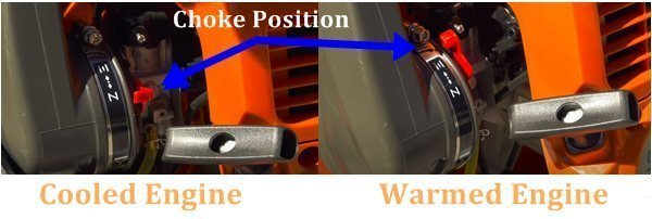 Choke Position of the leaf blower
