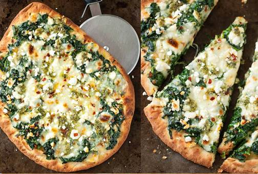 Spinach Pesto Flatbread with Cheese